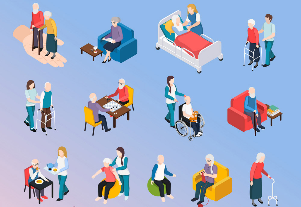 Elderly People Isometric Set